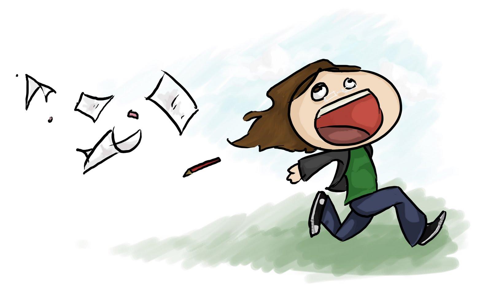 Desenho pessoa a fugir de papéis