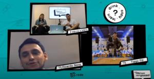 Imagem de programa de Youtube com 3 participantes