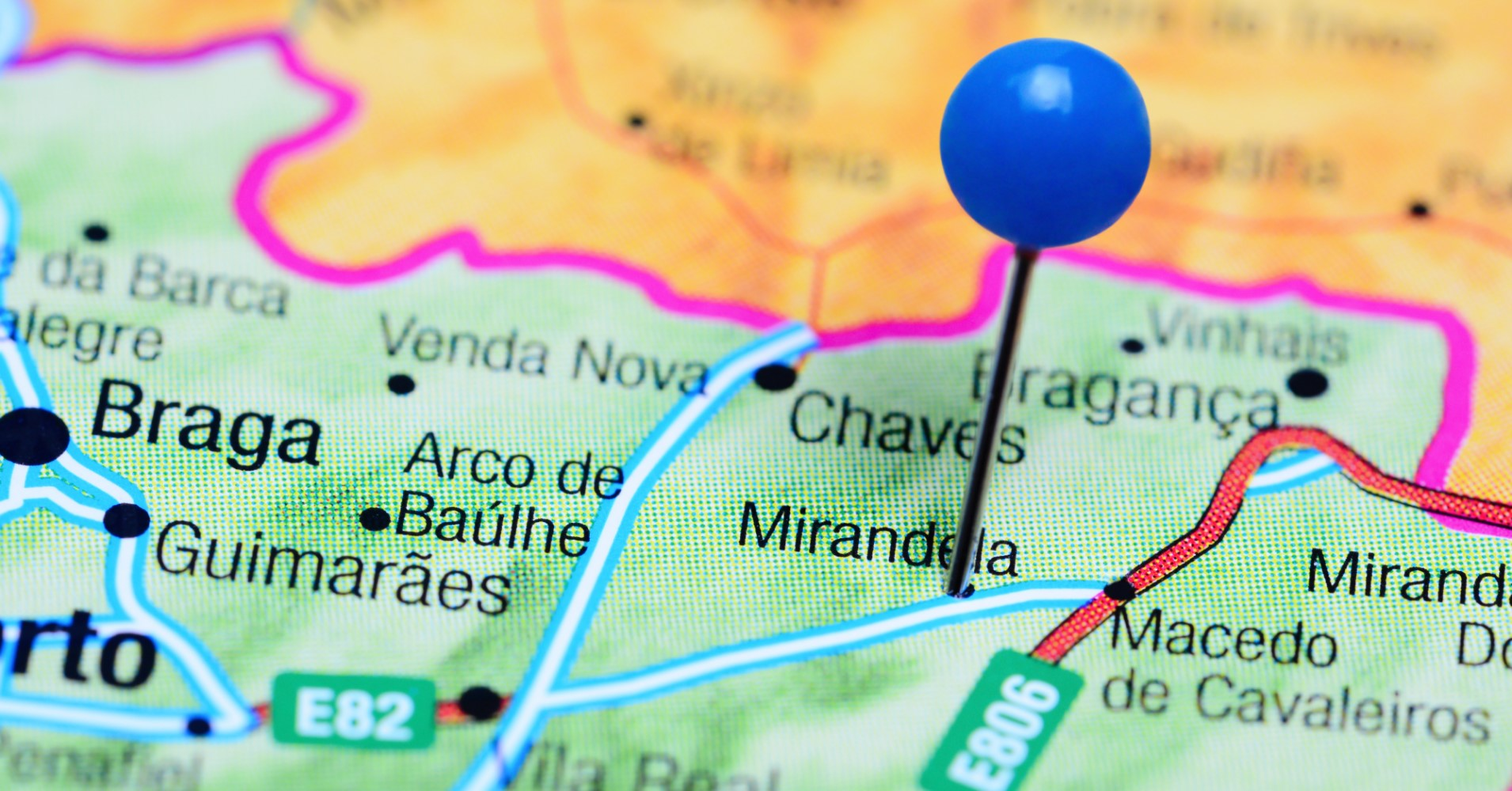 Mapa com Pin em mirandela