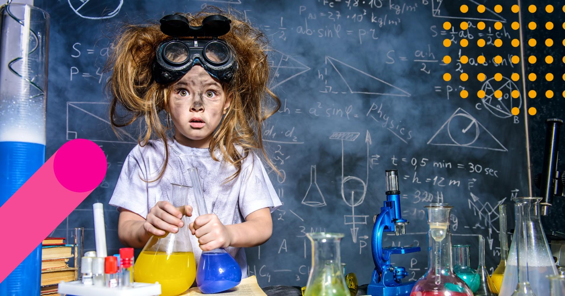 rapariga com cara suja atrás de uma bancada de experiências químicas