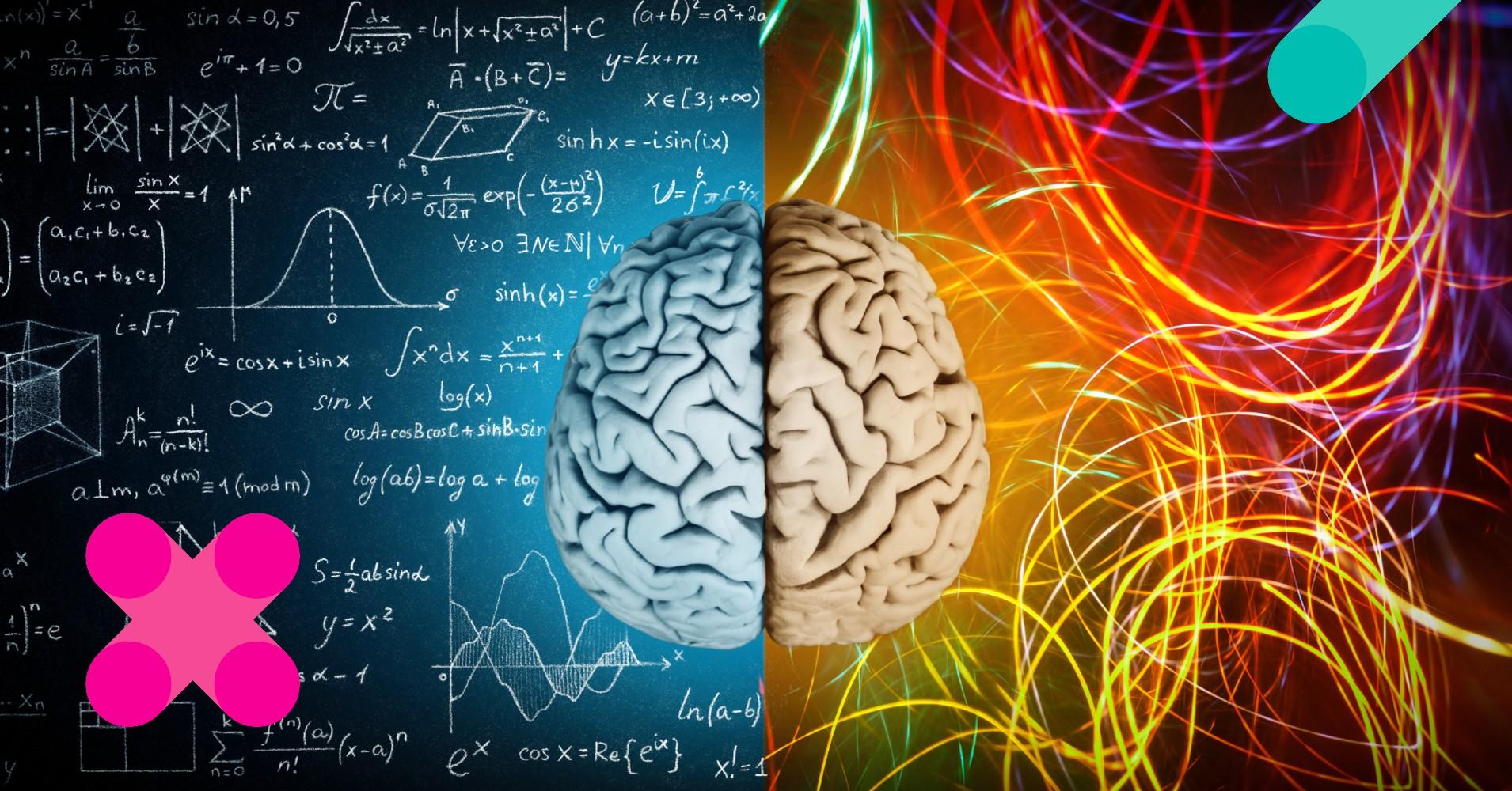 cérebro sobre fundo dividido em lado matemático e lado sensorial