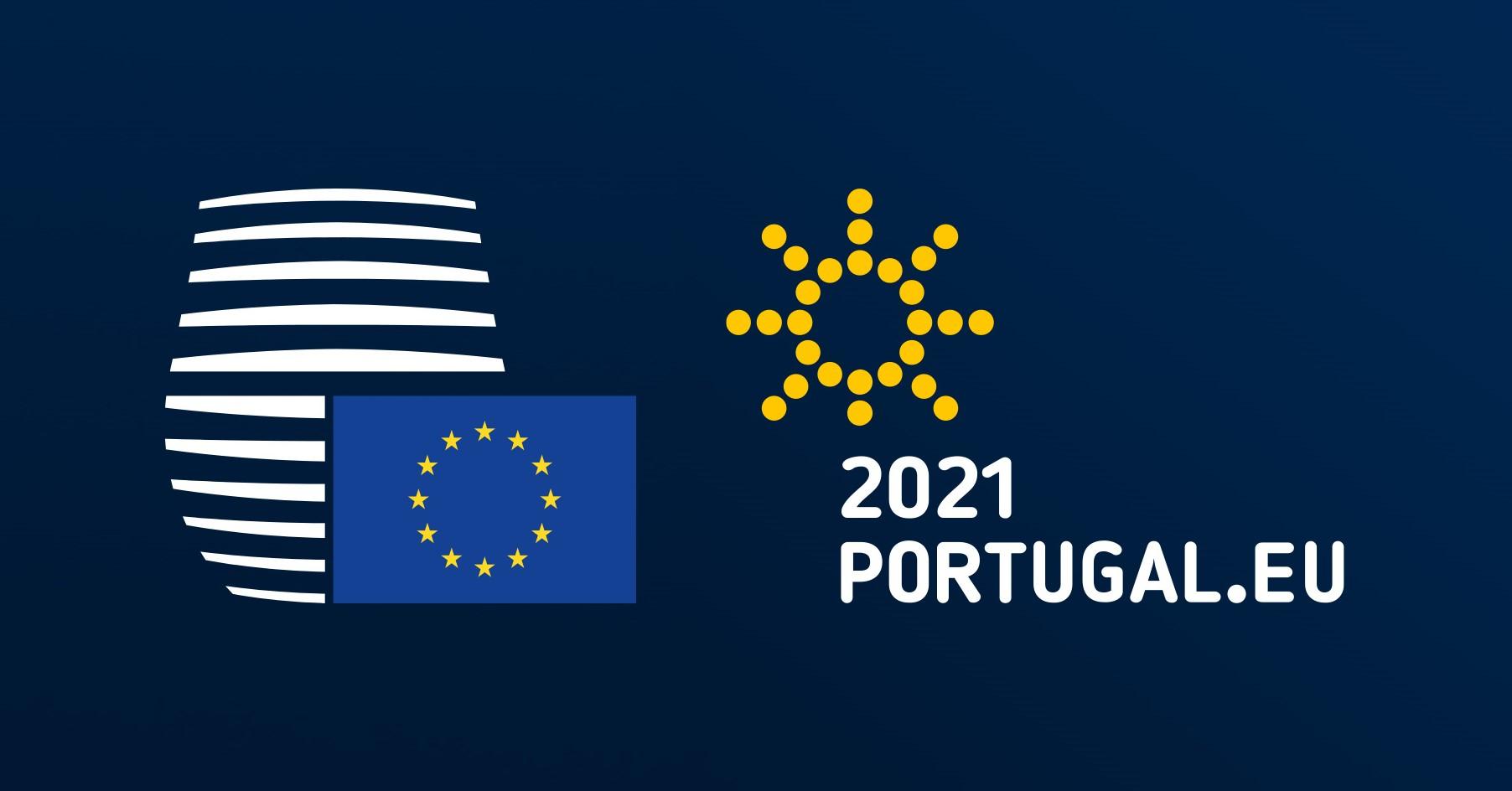 Imagem insitucional que assinala a presidência do Conselho Europeu por Portugal