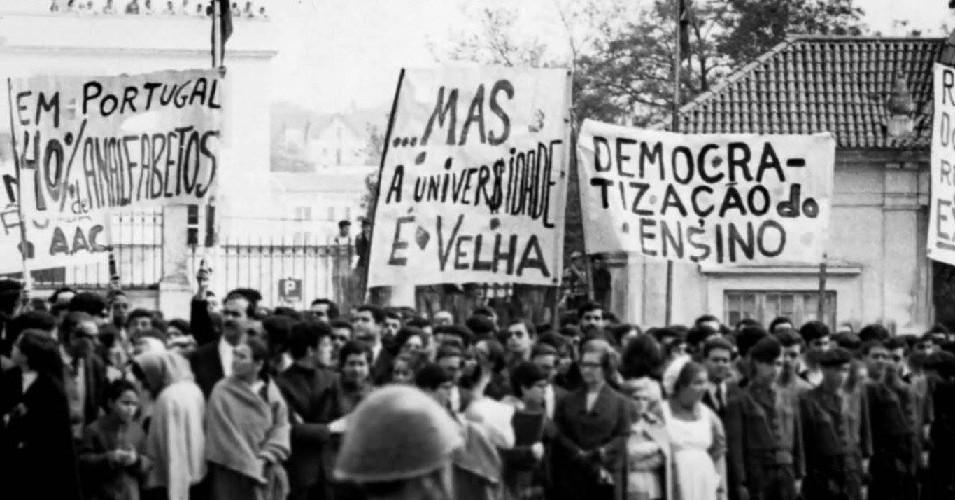 Manifestação política levada a cabo por Universitários em Coimbra, em Maio de 69
