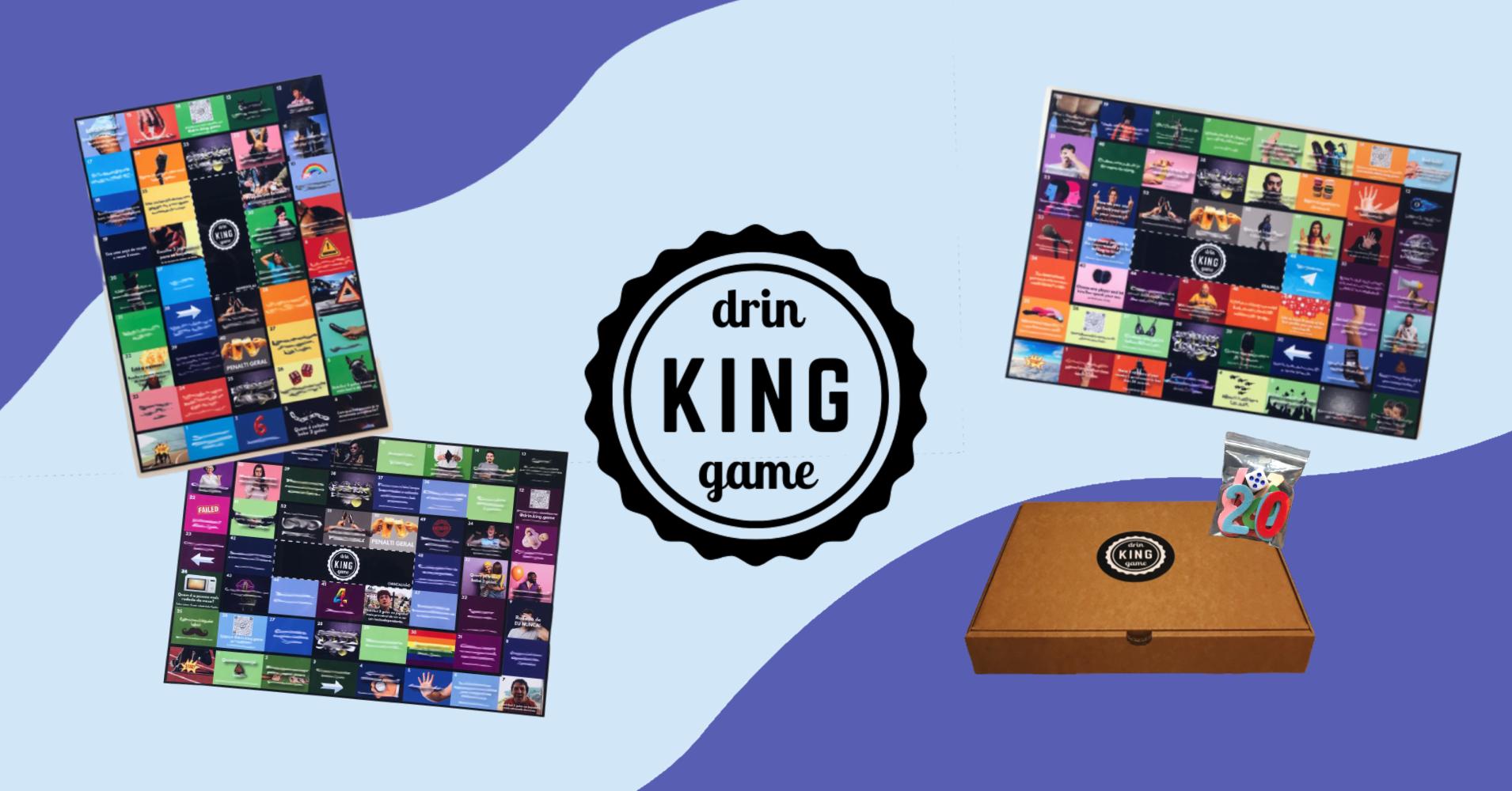 montagem com o jogo de tabuleiro Drin•KING•game