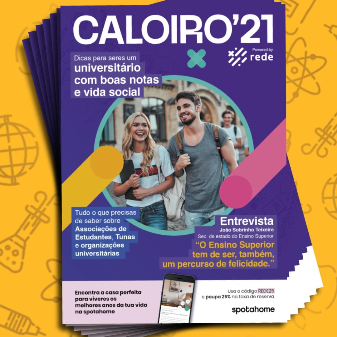 Capa do Guia do Caloiro 2021, intitulado Caloiro'21 e produzido pela Rede